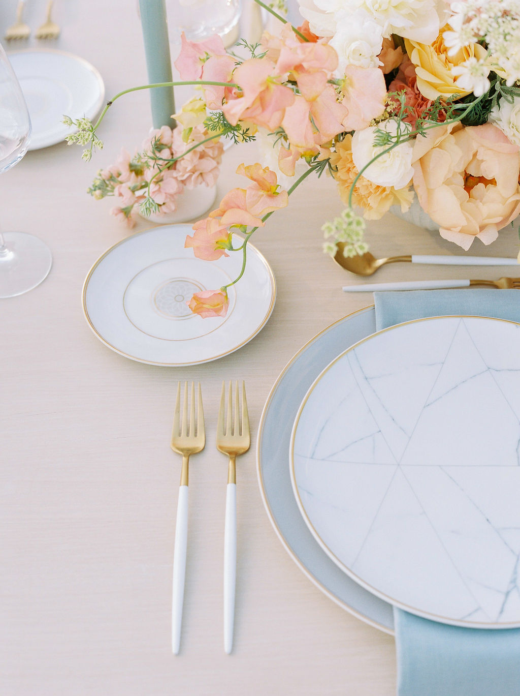 Timeless Spring Wedding Design With A Modern Twist Table Setting Details