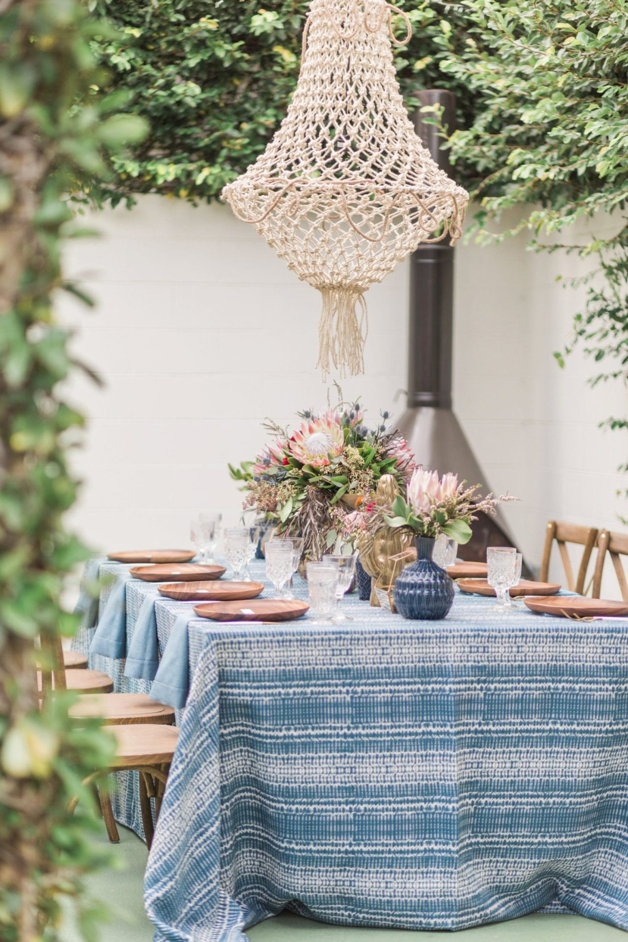 Blue Indigo Inspired Garden Dinner Party Table Setting Side View