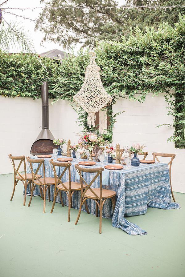 Blue Indigo Inspired Garden Dinner Party Table Setting