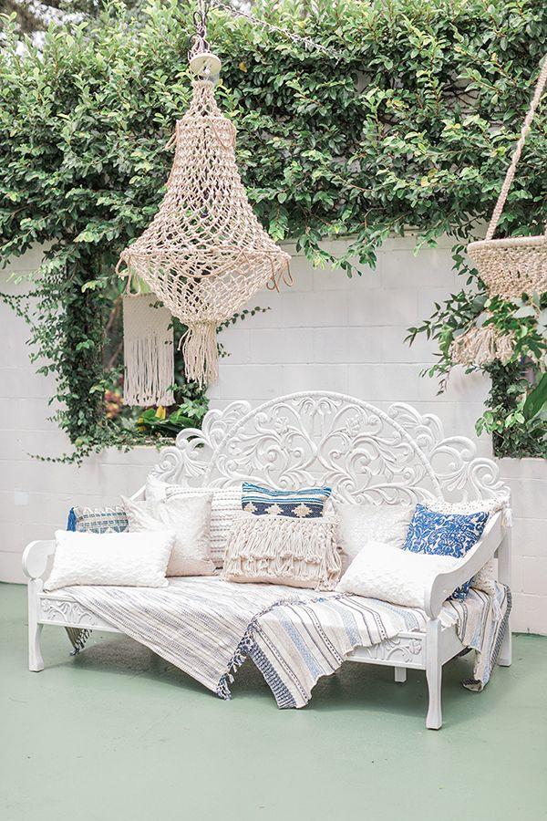 Blue Indigo Inspired Garden Dinner Party Lounge Area