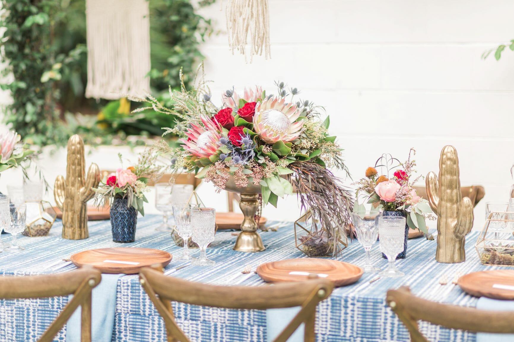 Blue Indigo Inspired Garden Dinner Party Table Setting Decor