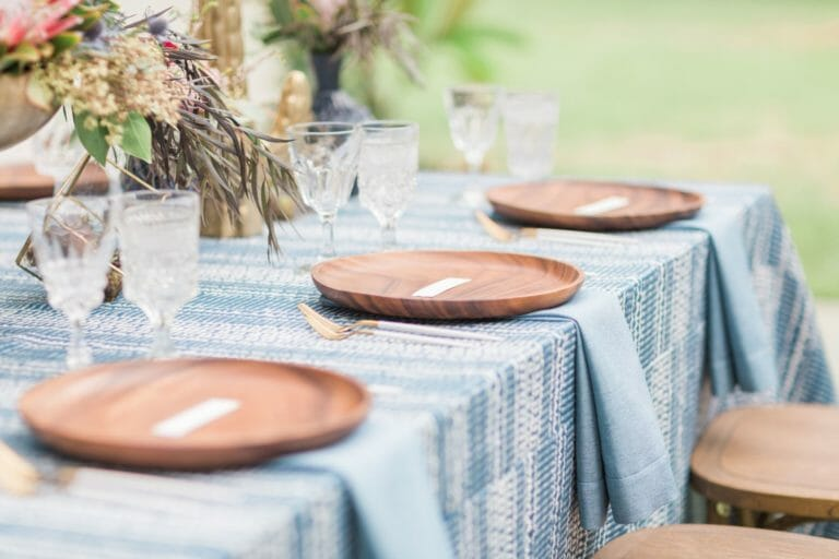 Blue Indigo Inspired Garden Dinner Party Tableware