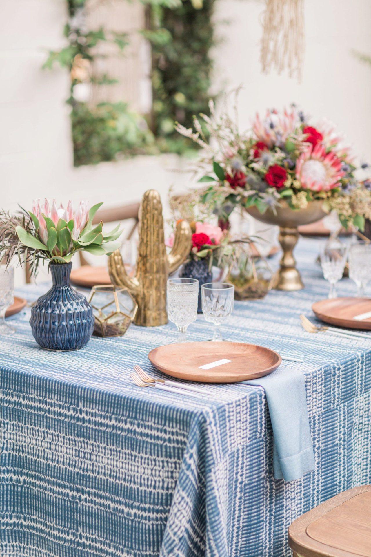 Blue Indigo Inspired Garden Dinner Party Table Setting Details