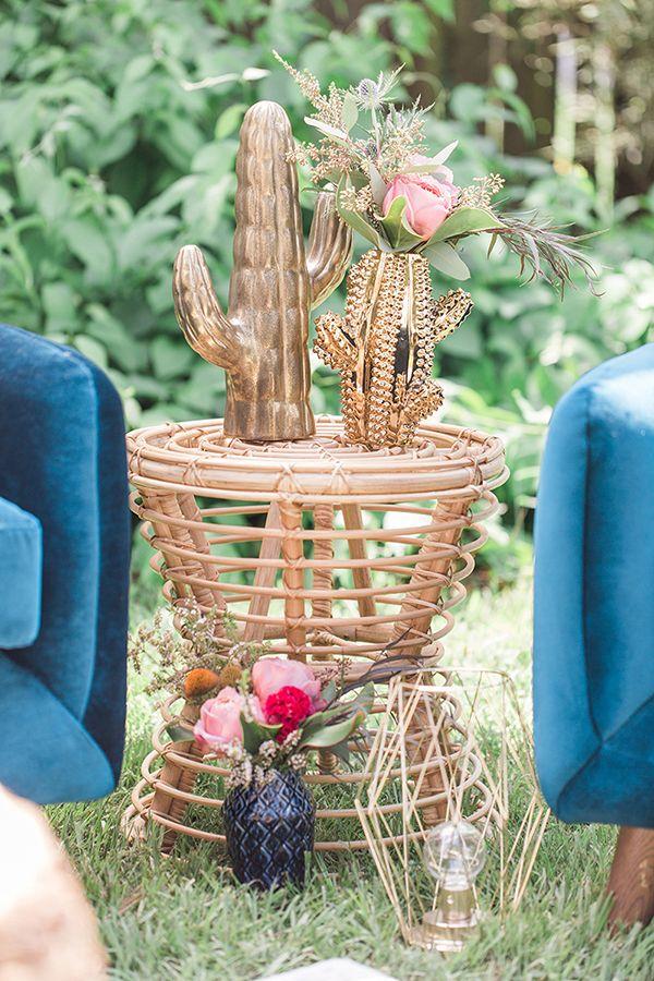 Blue Indigo Inspired Garden Dinner Party Lounge Area Decor