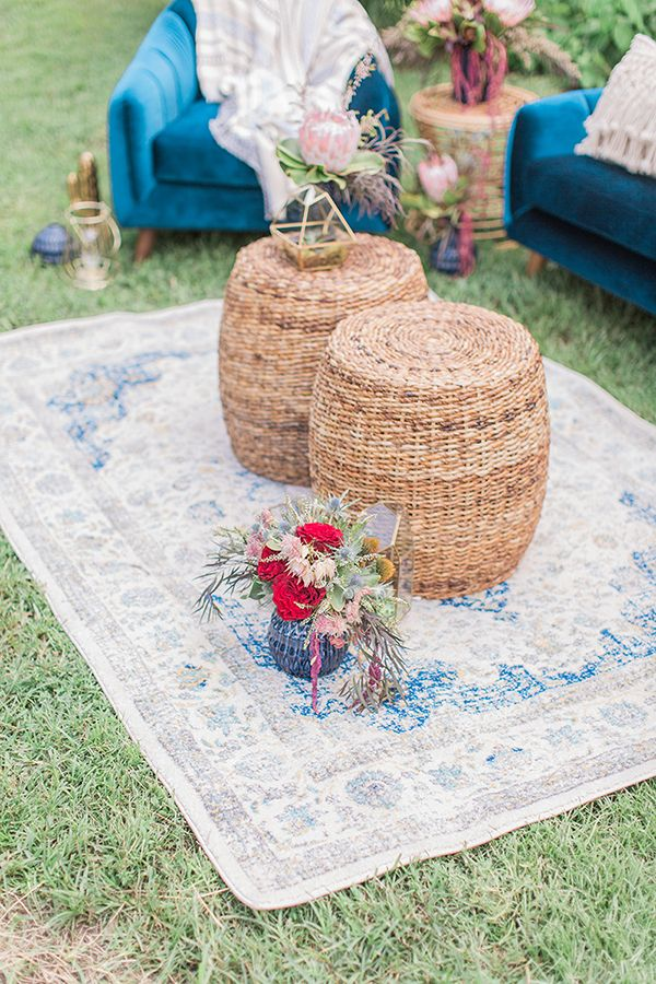 Blue Indigo Inspired Garden Dinner Party Lounge Area Details