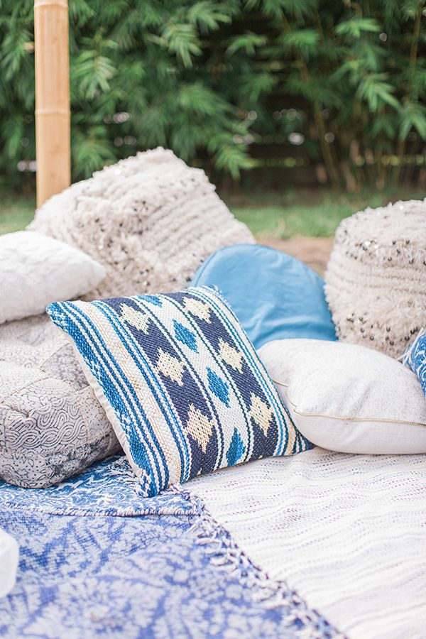 Blue Indigo Inspired Garden Dinner Party Rugs And Pillows