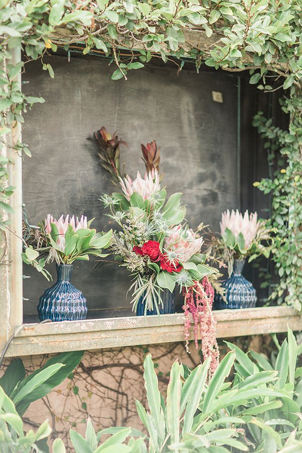 Blue Indigo Inspired Garden Dinner Party Flower Arrangements