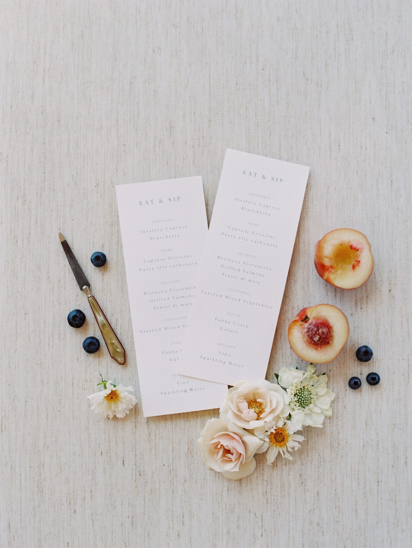 Classy Coastal Elopement In Greece Wedding Stationery
