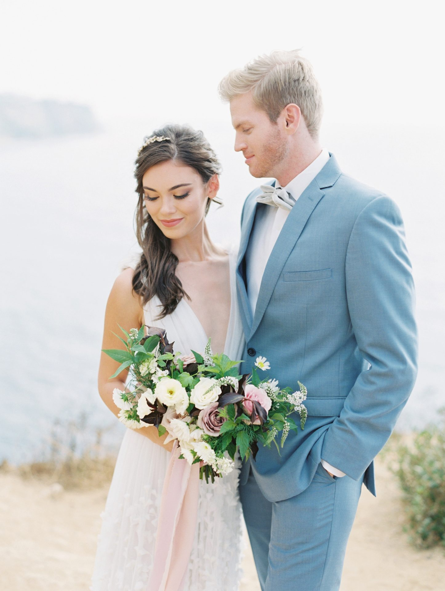 Classy Coastal Elopement In Greece Couple Portrait