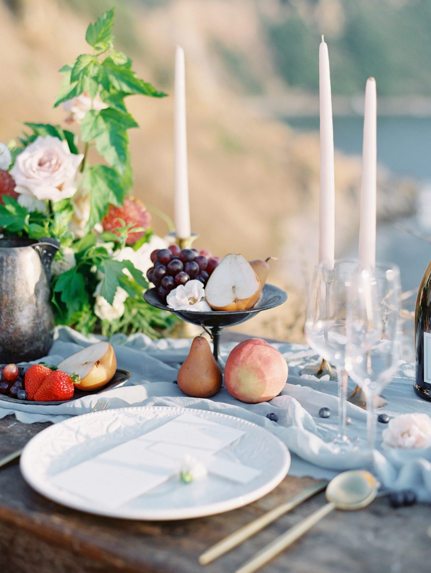 Classy Coastal Elopement In Greece Table Setting