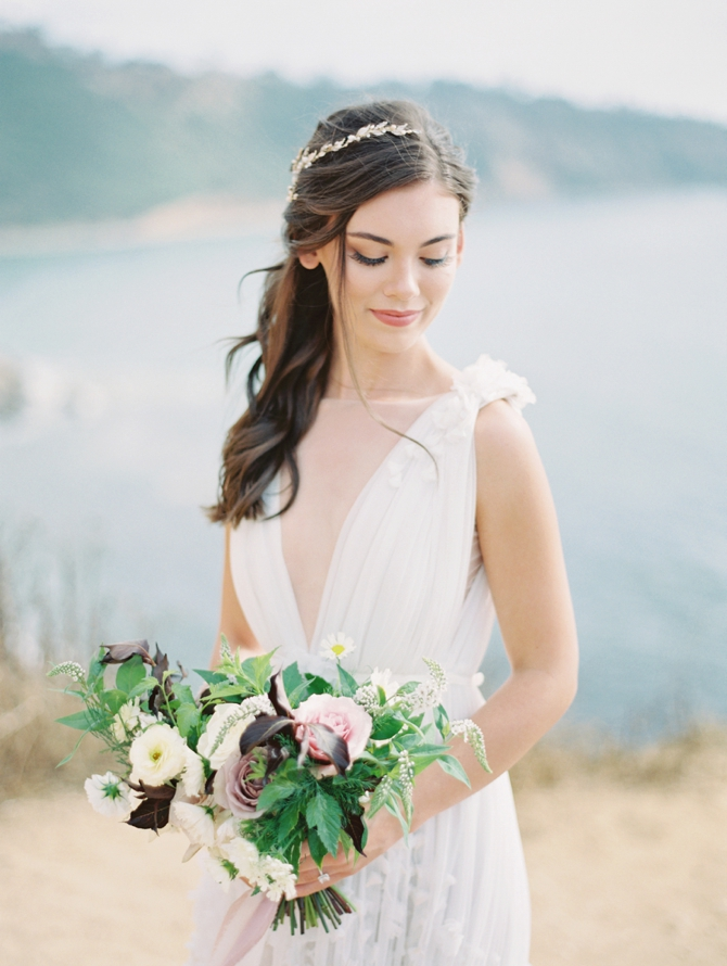 Classy Coastal Elopement In Greece Bride Portrait