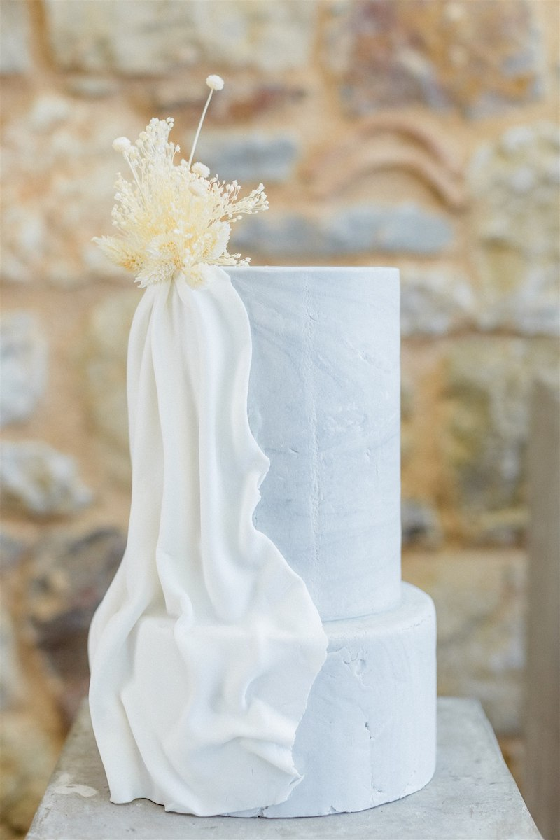 Dashing Elegance In Neutral Tones At Pyrgos Petreza Wedding Cake