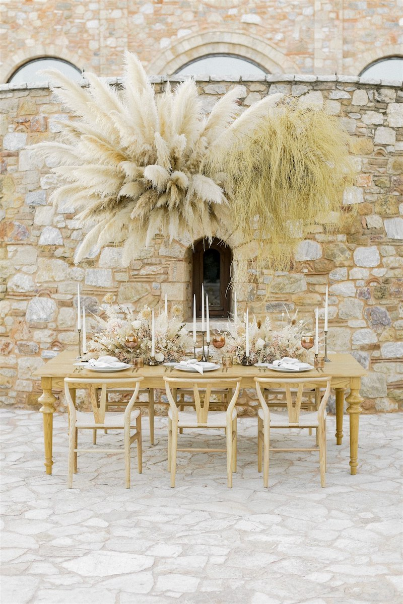 Dashing Elegance In Neutral Tones At Pyrgos Petreza Table Setting