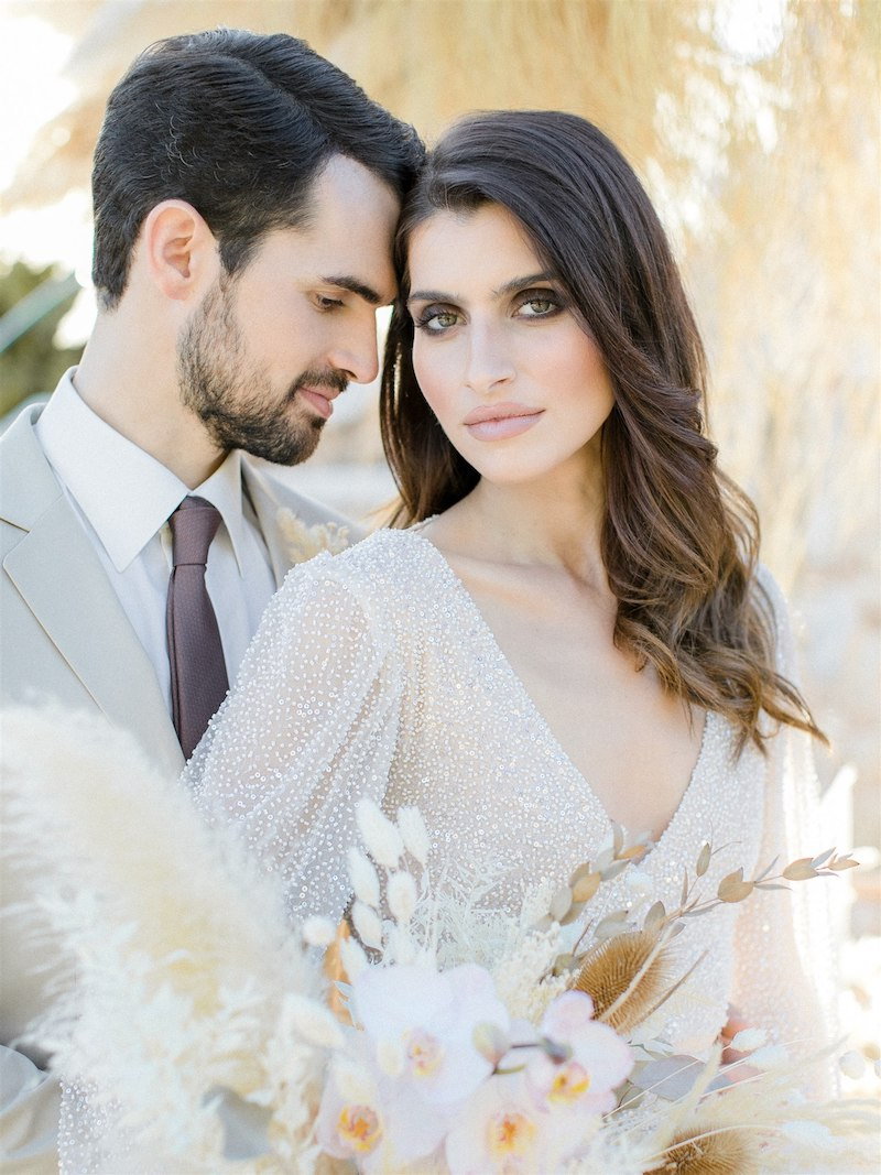 Dashing Elegance In Neutral Tones At Pyrgos Petreza Couple Portrait
