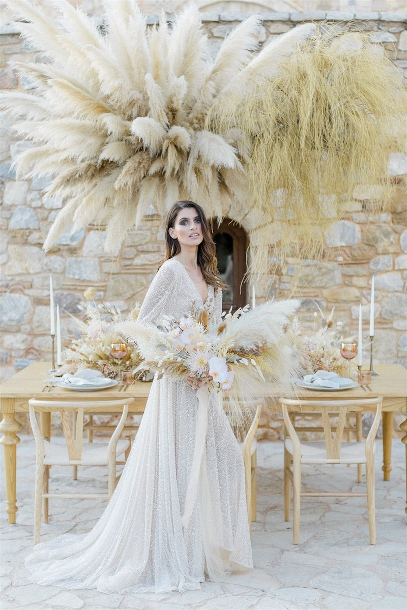 Dashing Elegance In Neutral Tones At Pyrgos Petreza Bride Portrait And Table Setting