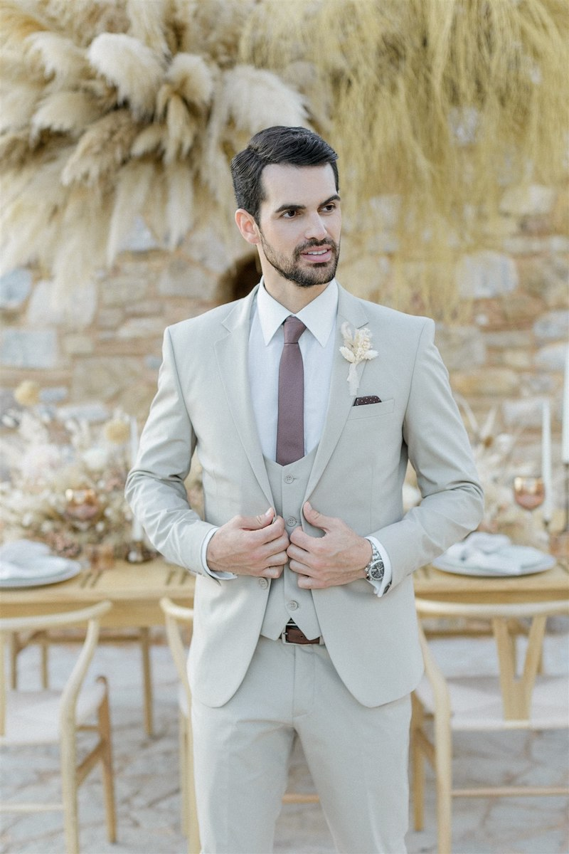 Dashing Elegance In Neutral Tones At Pyrgos Petreza Groom