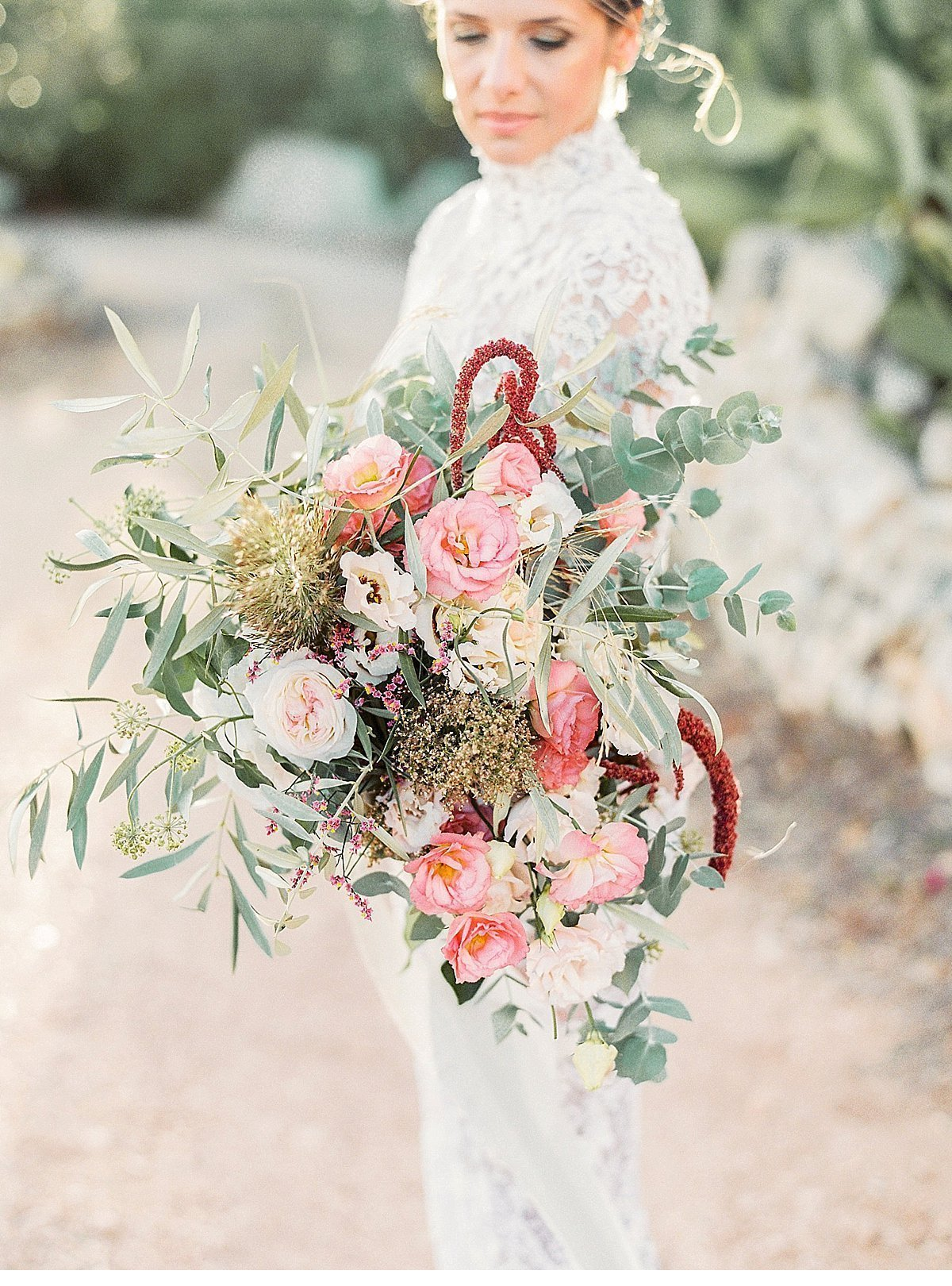 Elegant And Sophisticated Wedding In Jewel Tones In Paros Bridal Bouquet