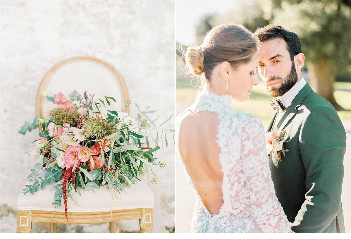 Elegant And Sophisticated Wedding In Jewel Tones In Paros Couple Portrait And Bridal Bouquet