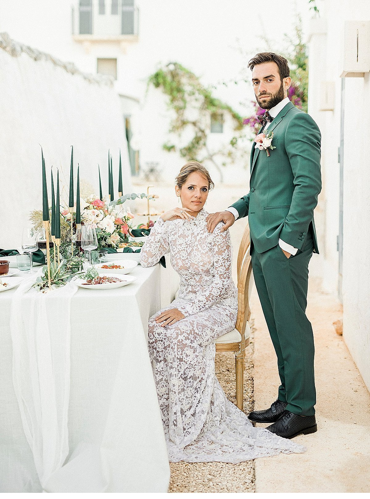 Elegant And Sophisticated Wedding In Jewel Tones In Paros Table Setting And Couple
