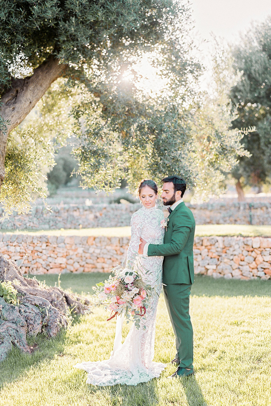 Elegant And Sophisticated Wedding In Jewel Tones In Paros Couple Portrait