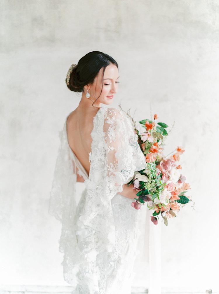Old World Charm In Blush & Terracotta Tones Bride Portrait