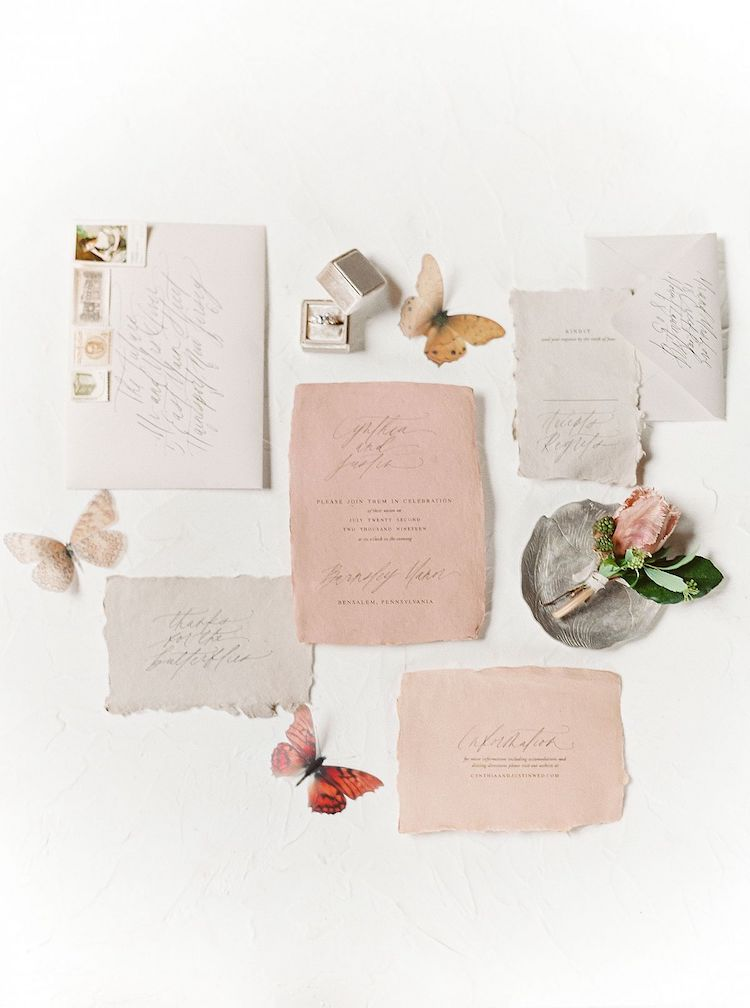 Old World Charm In Blush & Terracotta Tones Wedding Stationery