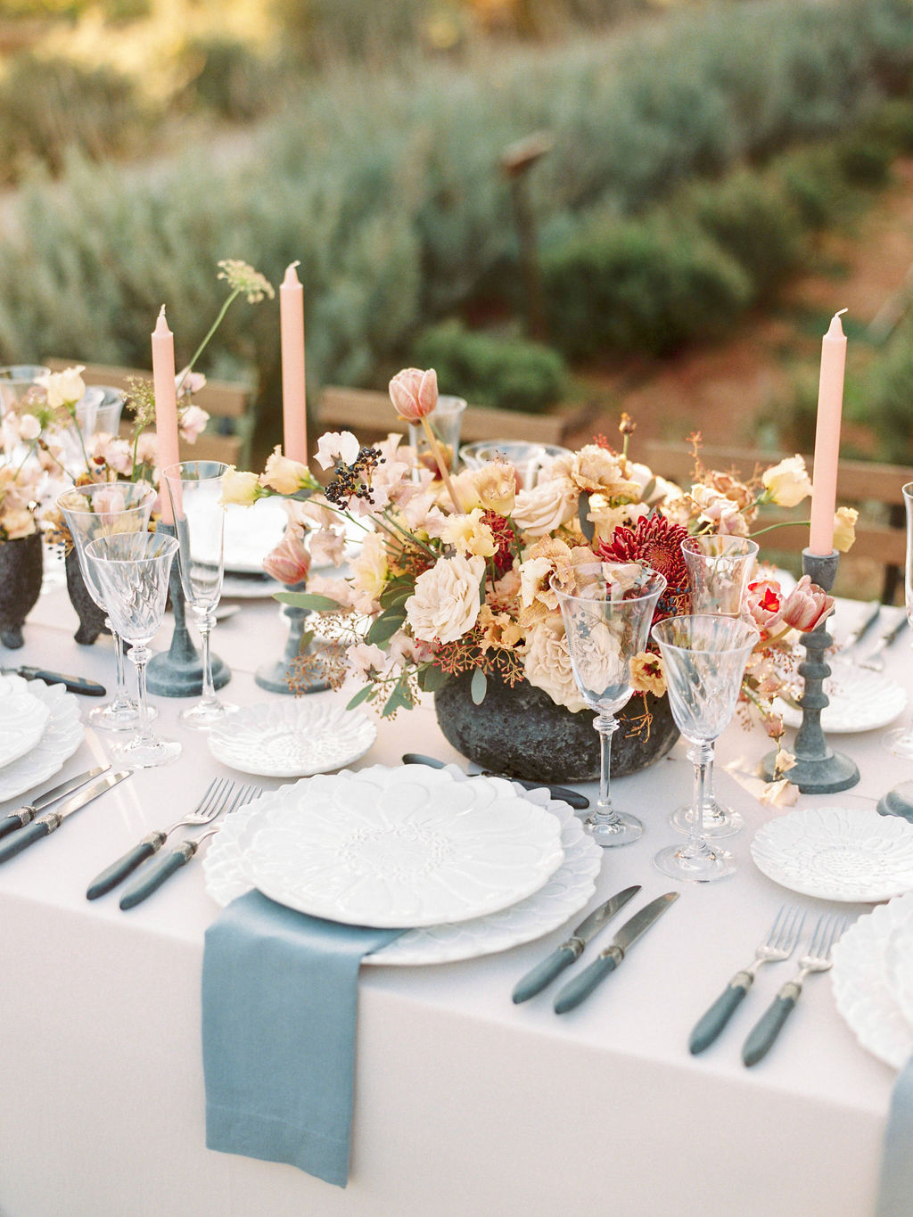 Timeless Spring Wedding Design With A Modern Twist Table Setting Side View