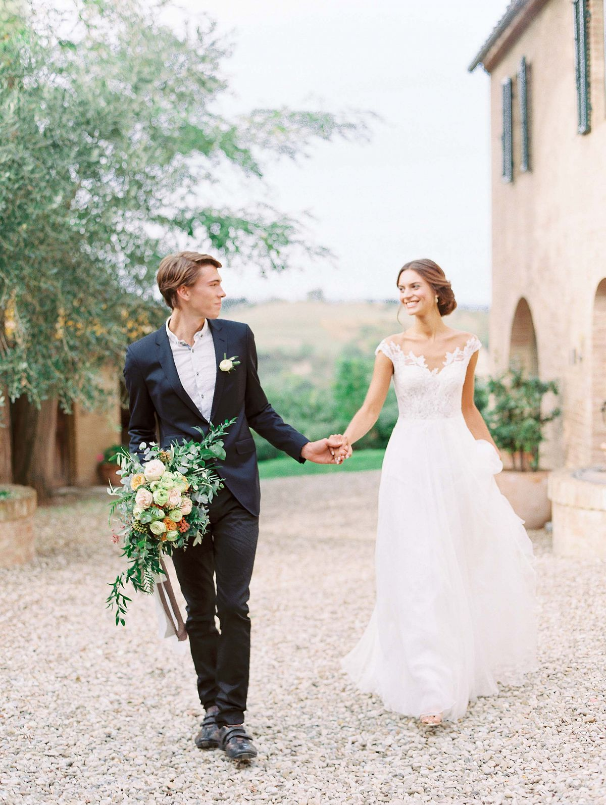 Stylish Al Fresco Wedding In Mani Couple Portrait
