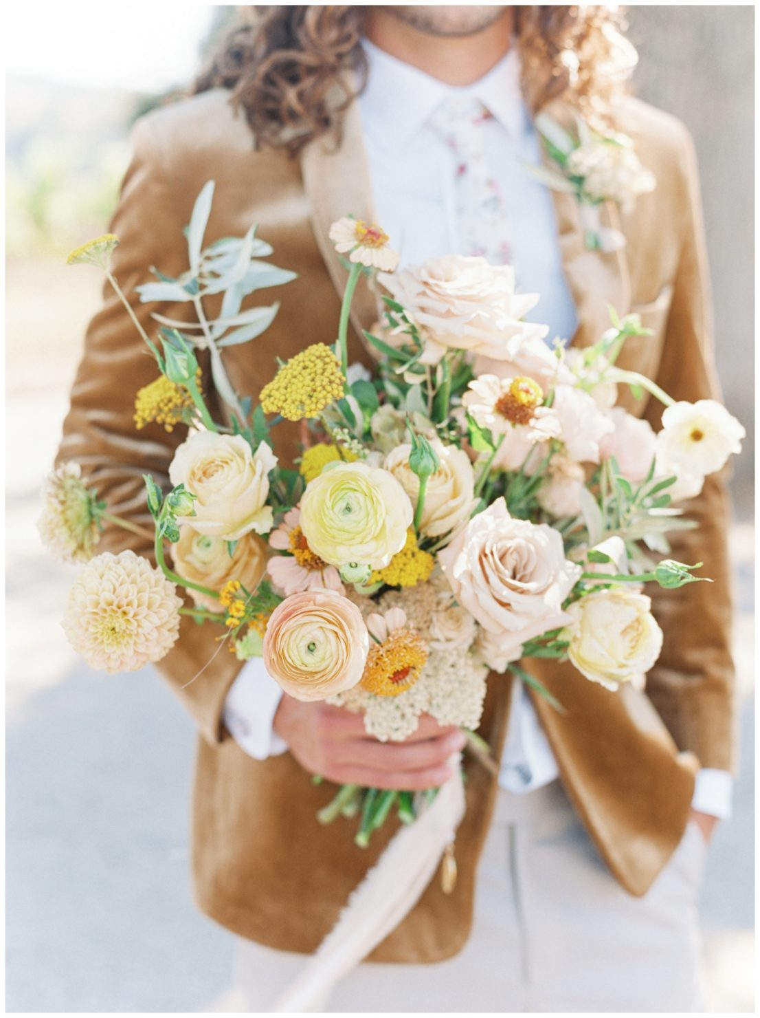Stylish And Summery Wedding At A Winery In Greece Groom And Bridal Bouquet