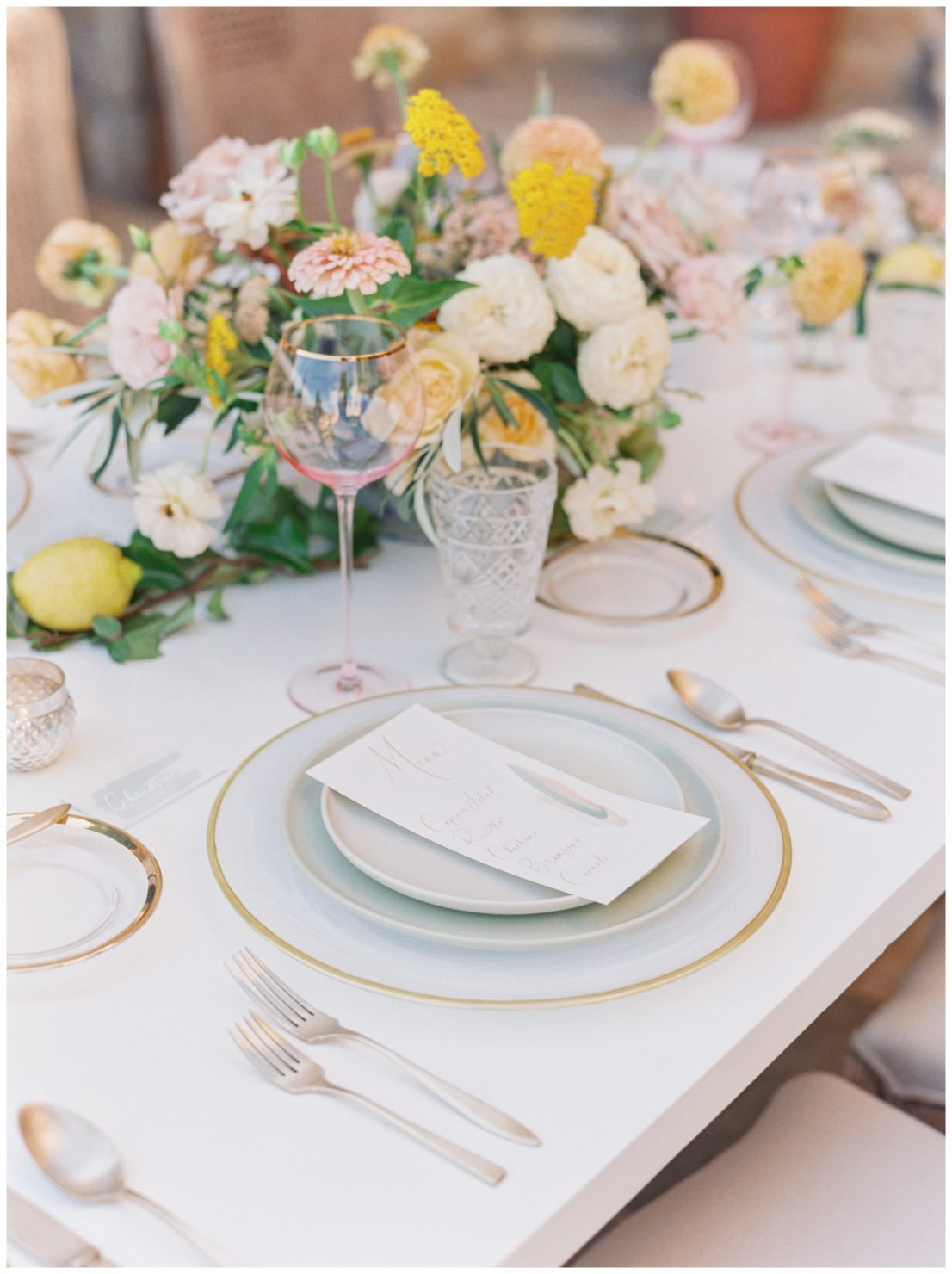 Stylish And Summery Wedding At A Winery In Greece Table Setting Details