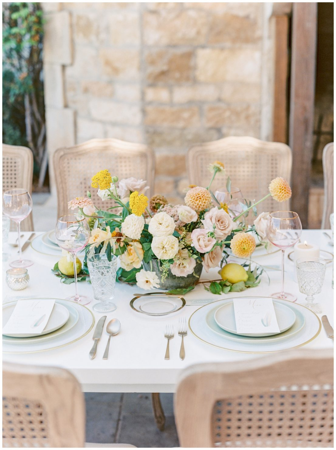 Stylish And Summery Wedding At A Winery In Greece Flower Arrangement