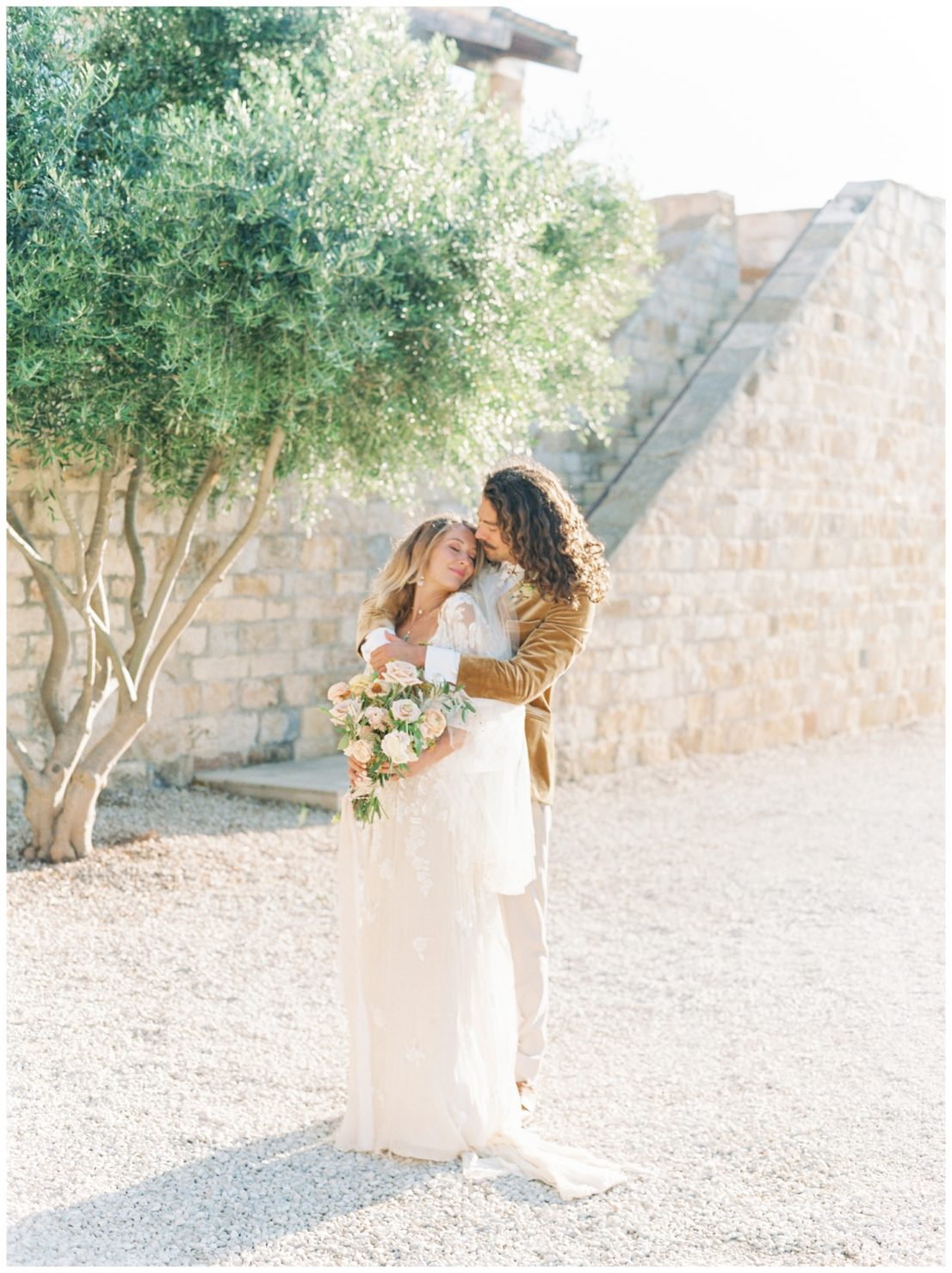 Stylish And Summery Wedding At A Winery In Greece Couple Portrait