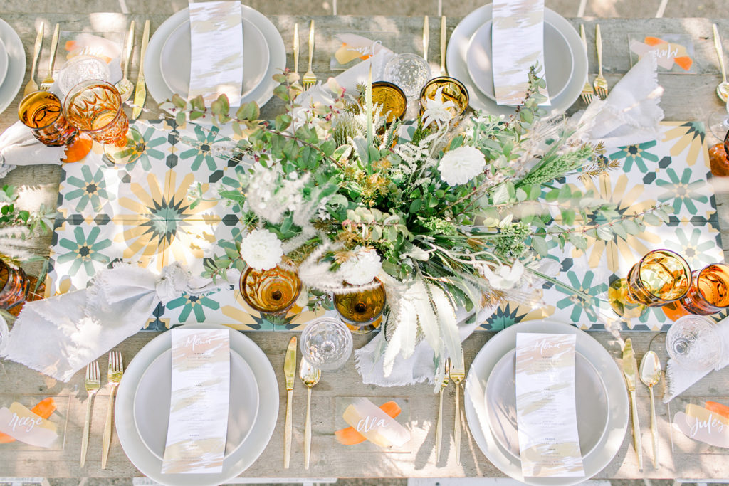 Stylish Desert Inspired Bridal Shower Table Setting Top View