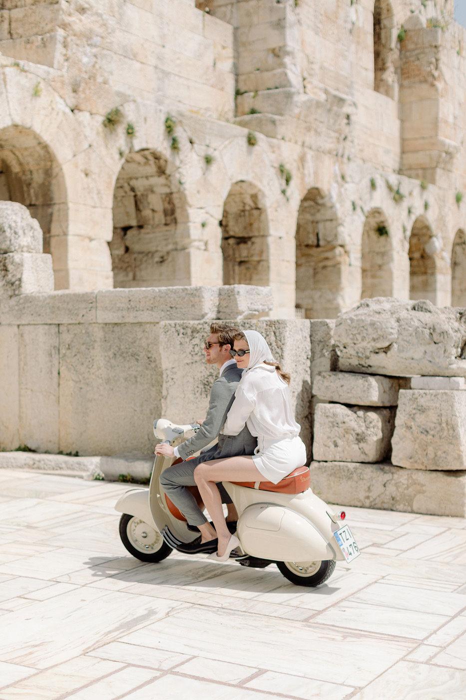 Wedding Proposal In Athens - Vespa Ride